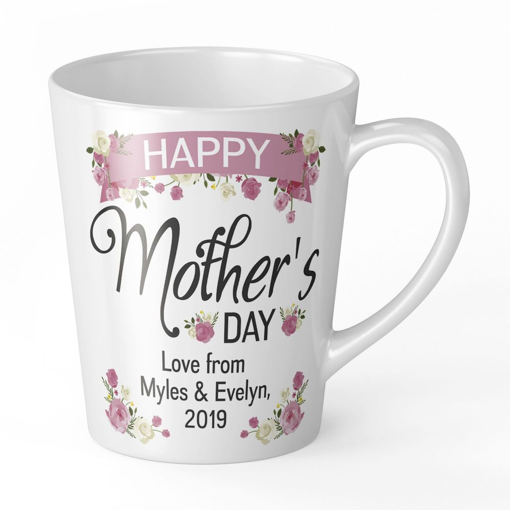 12oz Personalised Happy Mothers Day Lovely Floral Novelty Gift Latte Mug